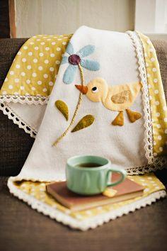 wool applique baby blanket