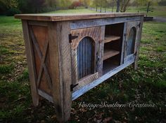 Reclaimed barn wood entertainment console by Vintage Southern Creations