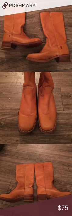 Frye Boots Size 9.5 Medium Frye Boots- size 9.5 Medium: these boots are in great condition. They have normal wear to the leather and a small dark mark on the front of the right boot. I cut the top side of the boots to better fit my calves. Frye Shoes Heeled Boots