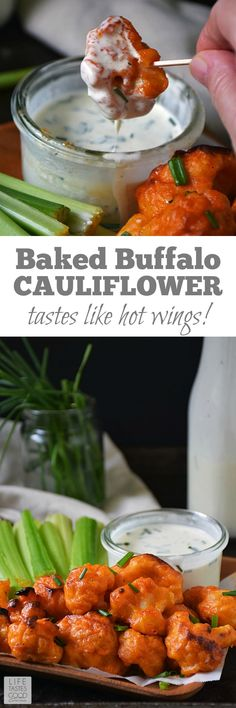 Baked Buffalo Cauliflower Bites | by Life Tastes Good with a dairy-free ranch dipping sauce are loaded with all the flavors of one of our favorite appetizers, but in a better-for-you option. These spicy bites are meatless and dairy free too! #healthyeats #healthyliving #meatless #dairyfree #hotwings #buffalo #cauliflower