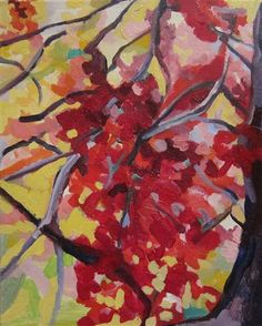 Ruby Red Cherry Blossoms by Colette Wirz Nauke | acrylic painting | Ugallery Online Art Gallery