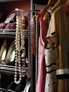 While a jewelry drawer insert is great for most knickknacks, a person with multiple long necklaces may need a different type of storage. A great way to decorate your closet, show off your favorite gems and make accessories handier is a tie rack. They're great for necklaces, scarves and, of course, ties. Be creative, and see what other uses you can dream up with these useful closet helpers. Photo courtesy of ClosetMaid
