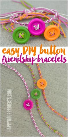 DIY 4 Stand Friendship Button Bracelet Tutorial from Happy Hour Projects. This is such a cheap and easy DIY perfect for kids. All you need is hemp cord (so cheap) and wooden or plastic buttons. For more DIY kids jewelry go here:. Kids Jewelry, Jewelry Crafts, Crochet Bracelet Tutorial, Friendship Bracelets Tutorial, Friendship Crafts, Simple Friendship Bracelets, Kids Bracelets, Pandora Bracelets, Wedding Bracelets