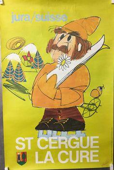 Vaud saint cergue jura suisse ski affiche originale touristique vers 1980 Ski Suisse, Saint, Vintage Posters, Switzerland, Fictional Characters, Posters, Cards, Tourism, Poster