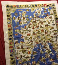 Original German Kunstlerhanddruck Tablecloth Europe Coat Of Arms Map Sea ~ New  | eBay