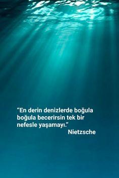 En derin deniz mi? Bir kaşık şu bile değil! Dön bak... Friedrich Nietzsche, French Quotes, Life Words, Meaningful Words, Book Quotes, Cool Words, Sentences, Quotations, Literature