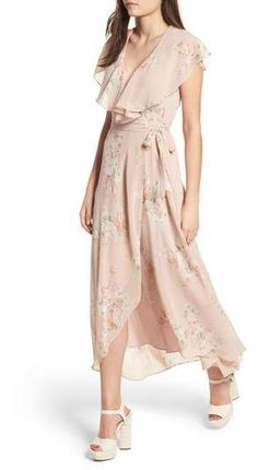 34c1ac96eb4 Wayf Polermo Wrap Maxi Dress in pink blush with beige printed flowers and  ruffle neck Wrap