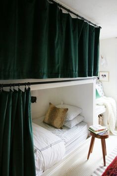 "Hanging Curtains on Bunk Beds - Figure out more details on ""bunk bed ideas for small rooms"". Take a look at our website. Bunk Beds Small Room, Bunk Beds For Girls Room, Beds For Small Spaces, Bunk Bed Rooms, Loft Bunk Beds, Modern Bunk Beds, Bunk Beds With Stairs, Kid Beds, Adult Bunk Beds"