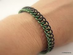 Green and Black Stretch Bracelet Aluminum and by JSWMetalWorks