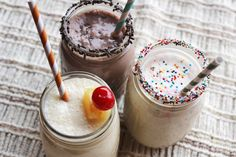 Cake batter milkshakes in 3 flavors: funfetti, devil's food cake, and pinapple upside-down cake.