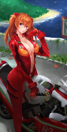 Anime picture neon genesis evangelion gainax soryu asuka langley long hair single tall image looking at viewer highres blue eyes breasts light erotic orange hair girl hair ornament navel bodysuit motorcycle vehicle 459960 en Neon Genesis Evangelion, Manga Anime, Anime Art, Science Fiction, Asuka Langley Soryu, Female Anime, Up Girl, Girl Hair, Anime Comics