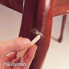 Fast Furniture Fixes: Make those nicks and scratches in your furniture go away with just a few minutes' work. Read more: http://www.familyhandyman.com/woodworking/furniture-repair/fast-furniture-fixes/view-all