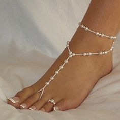 YSTD® Elegant Women Pearl Chain Foot Harness Toe Ring Barefoot Sandal Beach Anklets - Jewelry For Her