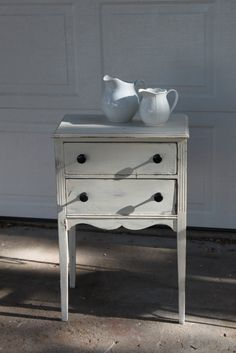 2 drawer french style beside table