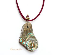 Handmade Painted River Stone Pendant Necklace with by Barnumbirr