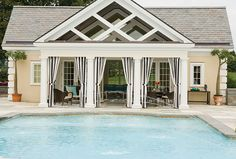 Noting the outdoor patio space. Two New Jersey Homes Decked Out Like Five-Star Resorts Offer Unique Design Ideas