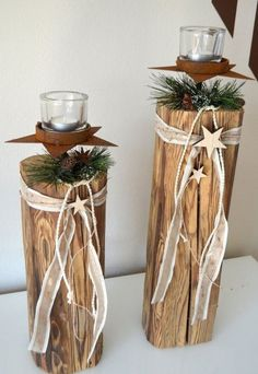 Homemade Christmas Decorations, Xmas Decorations, Holiday Decor, Diy Candles, Scented Candles, Diy Candle Labels, Wood Columns, Holiday Break, Old Wood
