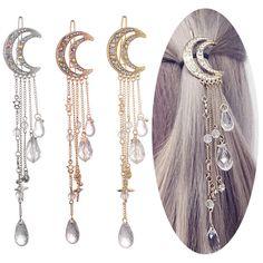 made accessories jewelry Fashion Elegant Women Lady Moon Rhinestone Crystal Tassel Long Chain Beads Dangle Hairpin Hair Clip Hair Jewelry Cute Jewelry, Hair Jewelry, Bridal Jewelry, Jewelry Accessories, Women Jewelry, Ladies Jewelry, Dainty Jewelry, Luxury Jewelry, Jewelry Trends