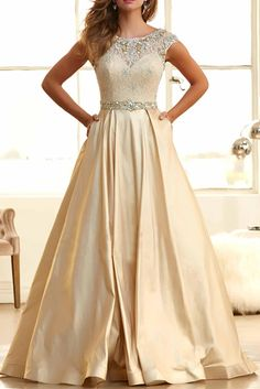 2016 Champagne Prom Dresses,Ball Gowns Prom Dresses,Scoop Neck Prom Gowns,Cap Sleeve Party Gown,Satin with Crystal Beads Sequined Party Gowns,Handmade Prom Dresses