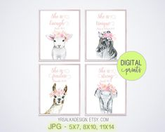 Pink Nursery Baby Wall Art set 4 - for baby girl blush pink nursery decor. Printable - Bible Verse Safari and Farm Animal Print Set | Etsy
