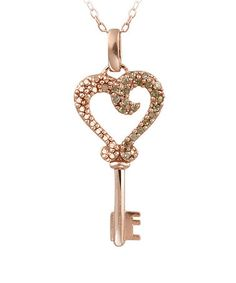 Take a look at this Brown Diamond & Rose Gold Heart Key Pendant Necklace by Designs by FMC on #zulily today!