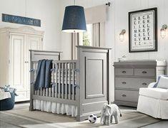 chambre bébé bleu marine et gris