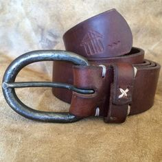 Leather Belt - 6mm Forged Steel Rounded Buckle Another Shed Production Gifts from Dartmoor Devon