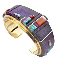 Cuff bracelet | Charles Loloma.  18k gold, inlaid with sugilite, coral and Lone Mountain turquoise.  ca. 1982-85