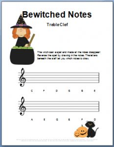 Halloween Music Worksheets - treble clef notes