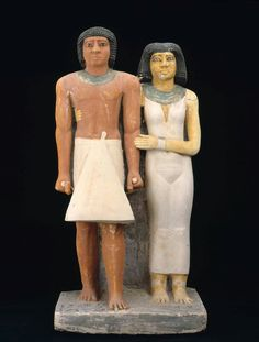 Painted limestone pair statue of Ptahkhenuwy and his wife. Old Kingdom. 5th dynasty. 2465–2323 B.C. | Museum of Fine Arts, Boston