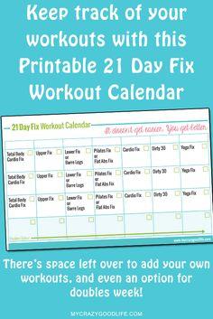 Free Printable 21 Day Fix Workout Calendar