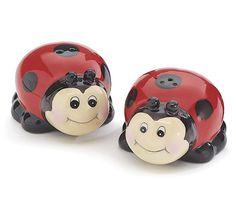 New Red Black Ceramic Ladybug with Face Salt & Pepper Shakers burton+BURTON  #burtonBURTON