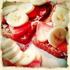 Strawberry And Banana On Multigrain Toast Philadelphia Cream Cheese And Cinnamon
