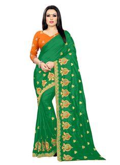 Embroidered Silk Classic Saree in Green Silk Sarees, Green Colors, Sari, Amazon, Stuff To Buy, Fashion, Saree, Moda, Amazons