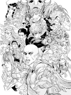 Anime Drawings Sketches, Anime Sketch, Cartoon Drawings, Asian Artwork, Cool Artwork, Character Sketches, Character Design, Reference Manga, One Punch Man Manga