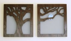 """Modern Wall Art - Eclipsed by Nature - """"Two Love Birds"""" - Handmade and signed by the artist - Ready to Hang - 18"""" x 16"""" each -"""