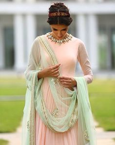 indian fashion. peach and mint. pastels. spring indian fashion.