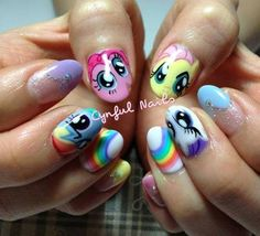they wouldn't do little pony at my nail shop, those hoes! Animal Nail Designs, Orange Nail Designs, Cute Nail Designs, Fabulous Nails, Gorgeous Nails, Pretty Nails, Nails For Kids, Girls Nails, Cute Nail Art