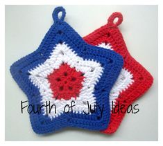 New crochet coasters star pot holders ideas Holiday Crochet, Crochet Home, Crochet Crafts, Easy Crochet, Crochet Projects, Free Crochet, Yarn Crafts, Geek Crafts, Crochet Kitchen