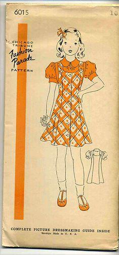 Vintage 1940's Chicago Tribune Fashion Parade Pattern 6015 Girl's Dress Sz 10   eBay