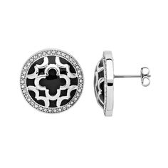 Marie Claire Jewelry Crystal Silver Tone Clover Button Stud Earrings, Women's, White