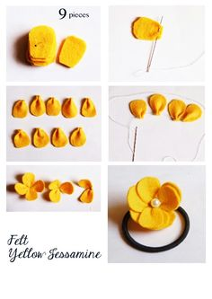 Felt Yellow Jessamine flower. Hair accessories