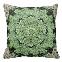 Decorate your space with this pretty design created from various elements found in vintage William Morris wallpaper patterns from the very early 20th century.  Prominent motifs are green poppy leaves and dogwood blossoms in peach.
