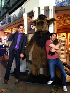 Drew & Jonathan Scott, plus there is a moose in the picture!  I love moose's.  They are so adorable!