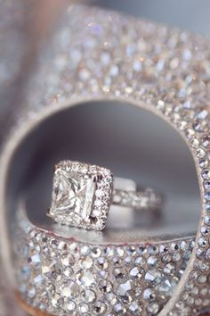 Gorgeous Louboutins and princess cut diamond ring. Photo by Thisbe Grace Photography. | repinned by bridesandrings.com