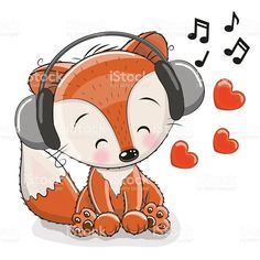 Illustration of Cute cartoon Fox with headphones and hearts vector art, clipart and stock vectors. Cartoon Cartoon, Cartoon Owl Drawing, Kitten Cartoon, Fox Drawing, Cute Cartoon Animals, Cute Animals, Dog Vector, Free Vector Art, Fox Stock