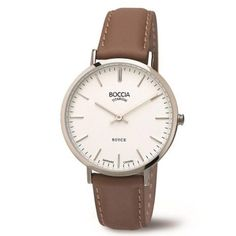 Boccia Women's Quartz Watch with White Dial Analogue Display and Brown Leather…