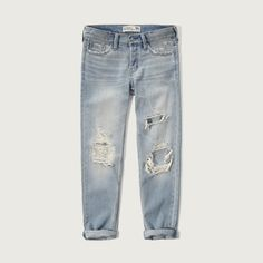 Abercrombie & Fitch Straight Boyfriend Jeans ($30) ❤ liked on Polyvore featuring jeans, pants, bottoms, denim, jeans/pants, destroyed light wash, ripped boyfriend jeans, destroyed jeans, distressed denim jeans and torn boyfriend jeans