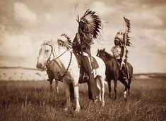 photo of Sioux Chiefs.  It was made in 1905 by Edward S. Curtis.The illustration documents three Native Americans on horseback.