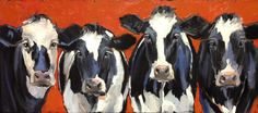 """Black and White and Red"" - oil painting by Amy P. Collins #cows #animals"